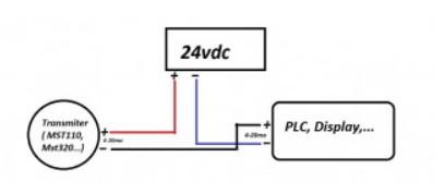 Hình cách đấu dây vào nguồn và tín hiệu về PLC