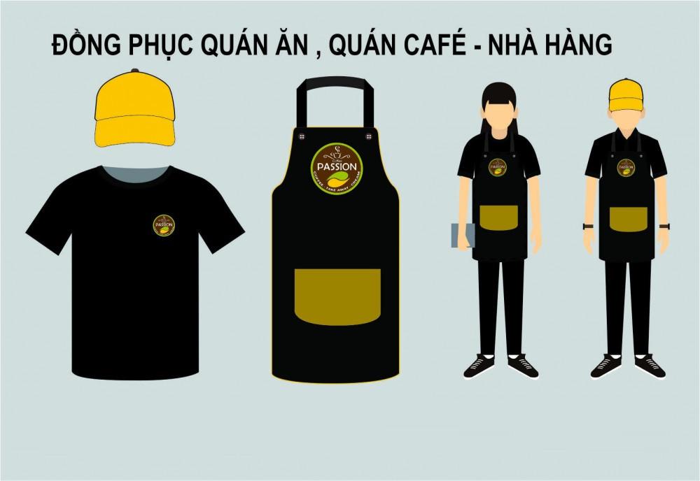 Đồng Phục Cafe Có Cổ Màu Trắng Phối Màu Nâu