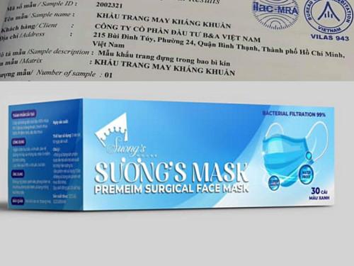 Khẩu trang kháng khuẩn Suong's House sản xuất có giấy phép công bố tiêu chuẩn chất lượn