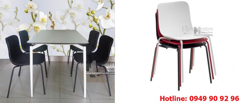 Bộ bàn ăn Cult 1m2 và 4 ghế Lavoro nhựa cho căn hộ HCM