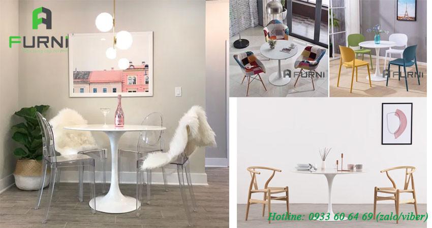 Bộ bàn ghế café, bàn ghế quán ăn theo phong cách nhẹ nhàng và hiện đại CF TULIP MARIO