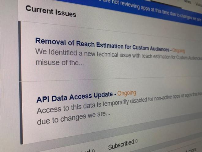 Facebook vẫn đang dò lại các API cấp cho các ứng dụng bên thứ ba, khiến những app từ Việt Nam bị tạm dừng hoạt động.
