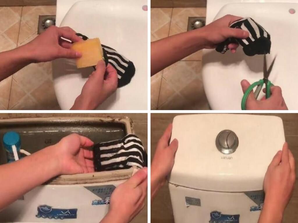 Chỉ với 1 chiếc tất cũ bạn đã giúp nhà vệ sinh luôn sạch sẽ