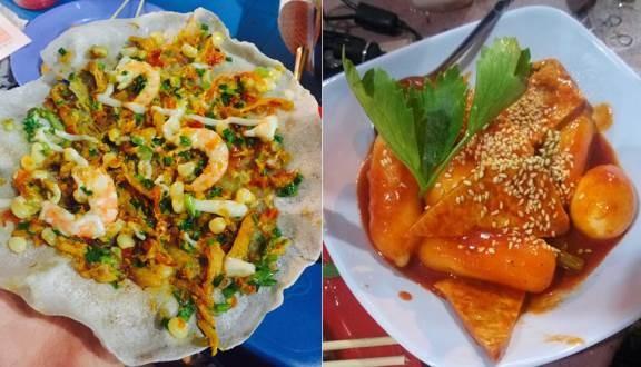 Bánh tráng nướng hải sản và bánh gạo cay Hàn Quốc