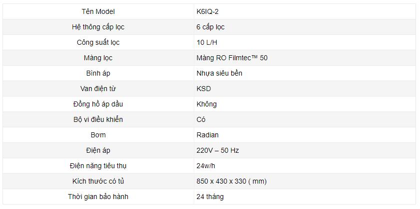 Thông số kỹ thuật máy lọc nước karofi IRO 2.0 có cấp lọc