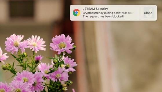 Tiện ích J2TEAM Security chặn web có chèn script để đào Bitcoin