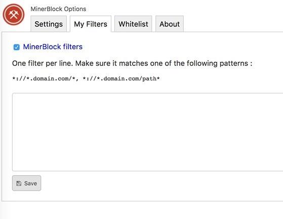 Tự thêm vào các trang web sử dụng script để đào Bitcoin mà minerBlock chưa cập nhật