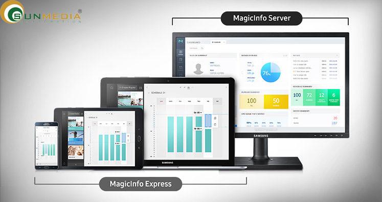 Máy chủ MagicInfo ( dành cho quản lý trên mạng). Là giải pháp quản lý tập trung toàn diện. Khi có nhiều màn hình quảng cáo Samsung, bạn cần phải quản lý và nội dung mỗi một màn hình cần phải được sắp xếp hợp lý. Máy chủ MagicInfo cho phép một giải pháp liền mạch để tổng hợp mọi thứ lại với nhau thành một định dạng đơn giản. Việc triển khai nội dung và kiểm soát phần cứng sau đó có thể được thực hiện dễ dàng, vì vậy bạn có thể tập trung vào những vấn đề cấp bách hơn.(2)