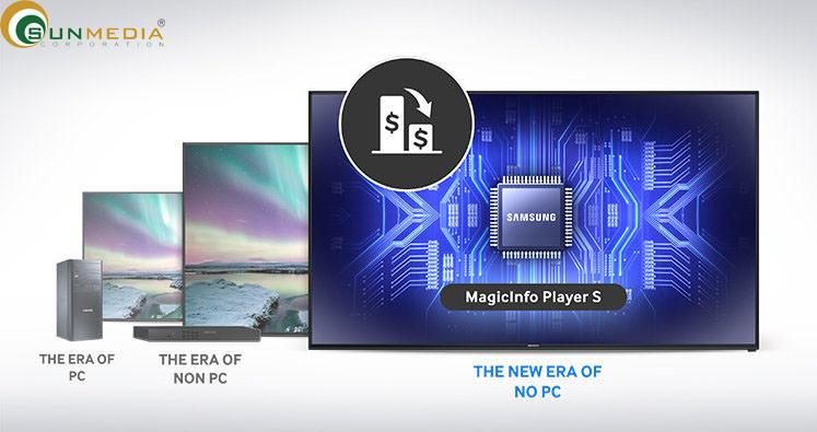 Máy chủ MagicInfo ( dành cho quản lý trên mạng). Là giải pháp quản lý tập trung toàn diện. Khi có nhiều màn hình quảng cáo Samsung, bạn cần phải quản lý và nội dung mỗi một màn hình cần phải được sắp xếp hợp lý. Máy chủ MagicInfo cho phép một giải pháp liền mạch để tổng hợp mọi thứ lại với nhau thành một định dạng đơn giản. Việc triển khai nội dung và kiểm soát phần cứng sau đó có thể được thực hiện dễ dàng, vì vậy bạn có thể tập trung vào những vấn đề cấp bách hơn.(4)
